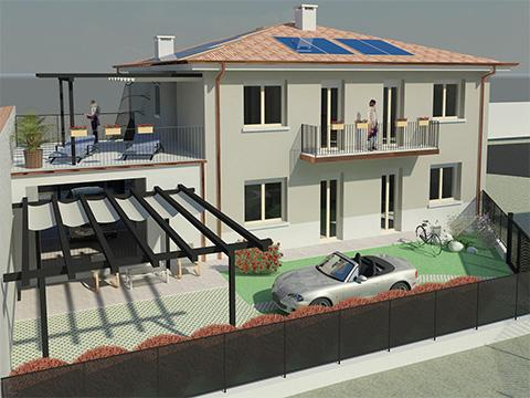 Demolizione e ricostruzione con ampliamento di un edificio bifamiliare - Verona